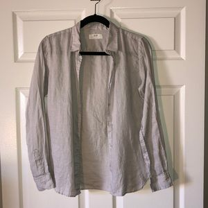 Women's Uniqlo light Grey Linen Shirt — size small